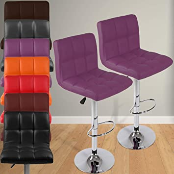 Height 2pc Set Choice of Colour Miadomodo Faux Home Leather Kitchen Bar Stool Chair Adjust Black