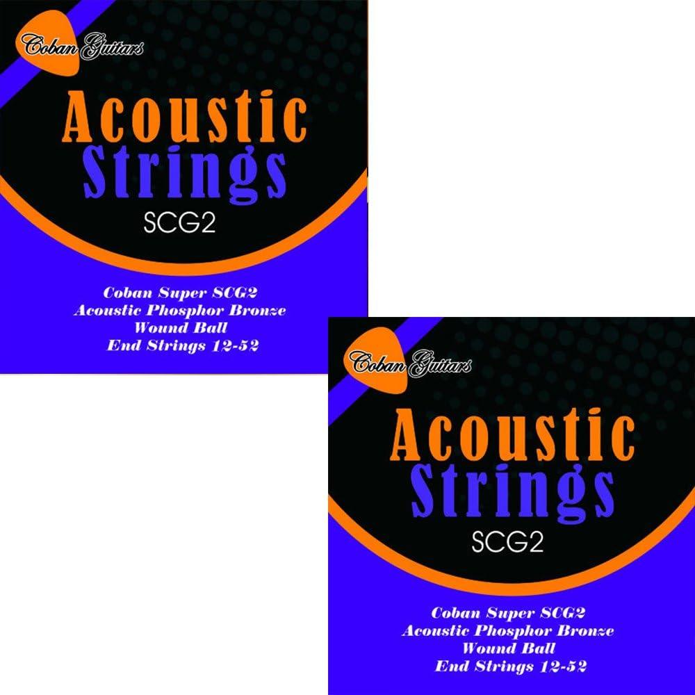 2x Coban guitarras SCG2acústica bronce fósforo cuerdas Wound con extremo de bola 12–52