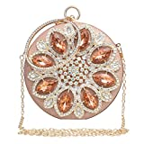 Womens Evening Bag Round Rhinestone crystal Clutch Purse Ring Handle Handbag For Wedding and Party,Gold-1.