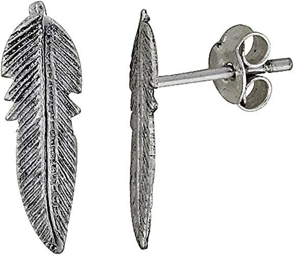 Solid 925 Sterling Silver Feather Stud Earrings Quality