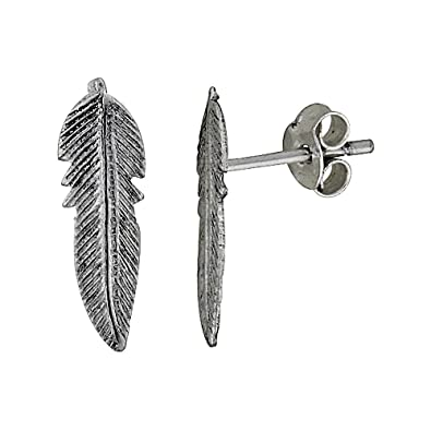 5b851f4c3 Image Unavailable. Image not available for. Color: Tiny Sterling Silver  Feather Stud Earrings ...