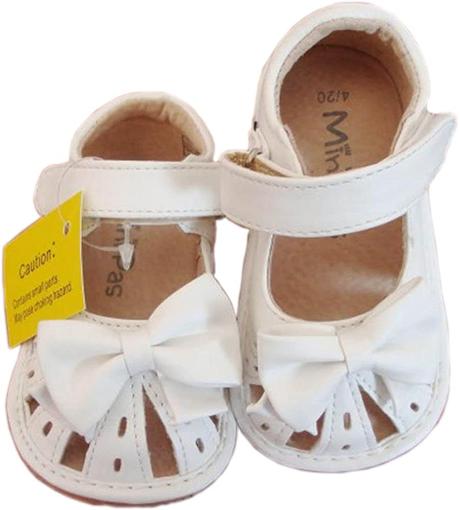 Jiazibb Baby Girl Velcro Leather Butterfly Squeaky Toddler First Walkers Sandals
