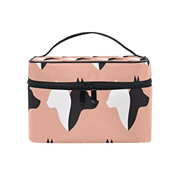 82b011cb8060 Amazon.com : SAVSV Travel Makeup Bags With Zipper Black Dogs In Pink ...