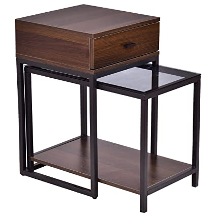 Coffee Table Side Table End Table Metal Frame Wood Glass Top Set 2PCS, Bed  Living