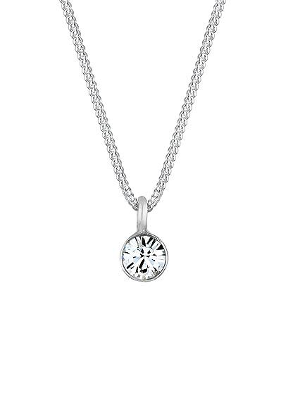 4f93e037d202 Eli - Collar con Colgante para Mujer de Plata de Ley con Cristal de  Swarovski 45 cm  Amazon.es  Joyería