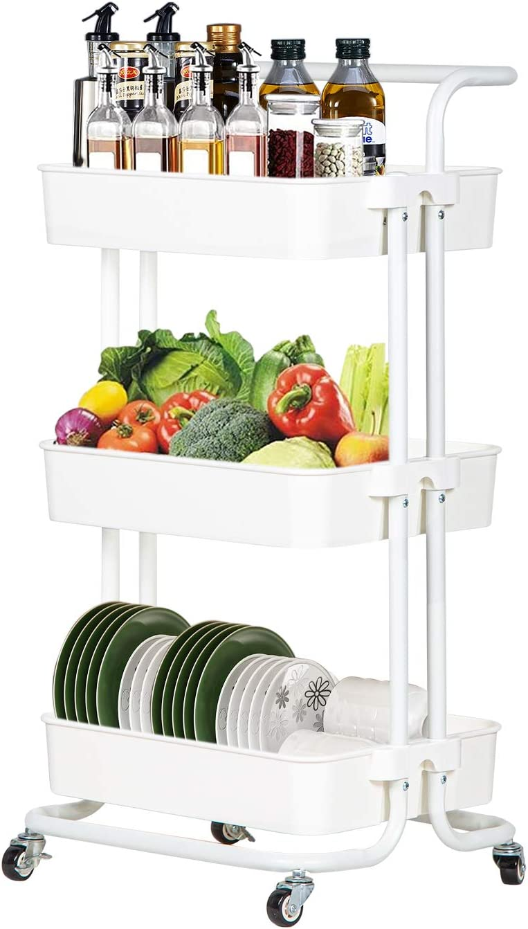 3 Tier Mobile Rolling Utility Cart Storage Shelves Cart with Handle & Brakes Roller Wheels Heavy Duty Utility Shelves Storage Organizer for Kitchen, Bathroom, Office,White