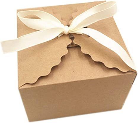 20 cajas de papel kraft cuadradas para dulces, cajas de regalo de boda rústicas con cinta de regalo, cajas de papel de embalaje hechas a mano: Amazon.es: Juguetes y juegos
