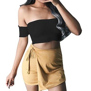 aa18599ddd1 BSGSH Women s Sexy Off Shoulder Tops Strapless Short Sleeve Tube Top Crop  Shirt (S