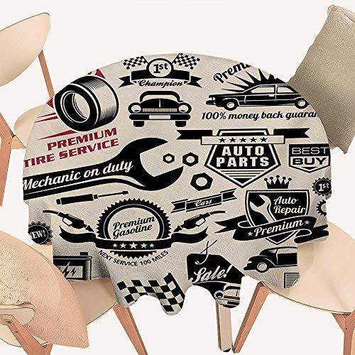 Jacquard Logo Beige - W Machine Sky Retro Jacquard Tablecloth Car Repair Shop Logos Monochrome Car Silhouettes Best Garage in Town Round Tablecloth D 70