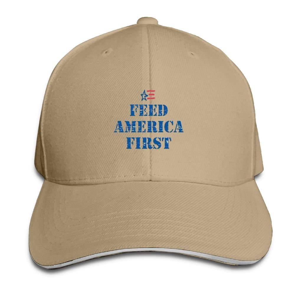 BUSEOTR Feed America First Baseball Caps Adjustable Back Strap Flat Hat
