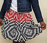 Girl's African Print Black, Red and White Pattern. Elastic Band Gathered Kid's Skirt with Inner Pockets. Back to School and other Occasions.