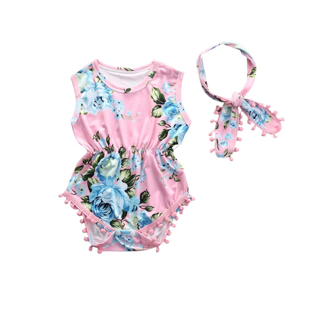 7ced35c6c Galleon - Cute Adorable Floral Romper Baby Girls Sleeveless Tassel Romper  One-Pieces +Headband Sunsuit Outfit Clothes (12-18 Months, Pink)