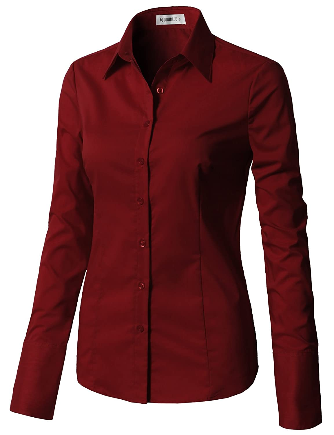 988e05dcb CLOVERY Women s Basic Long Sleeve Slim Fit Button Down Shirt at Amazon  Women s Clothing store