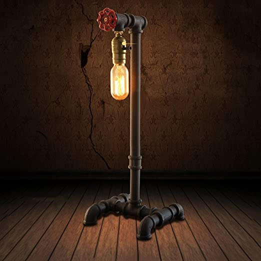 Handmade Dimmable Table Lamp from Vintage Industrial Steampunk Steel Pipe