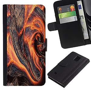 Paccase / Billetera de Cuero Caso del tirón Titular de la tarjeta Carcasa Funda para - Art Magma Lava Volcano Nature Earth Fire Hot - Samsung Galaxy Note 4 SM-N910