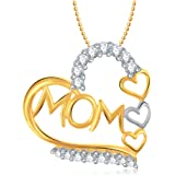 VK Jewels I Love You Mom Gold and Rhodium Plated Mom Pendant for Women - P1384G [VKP1384G]
