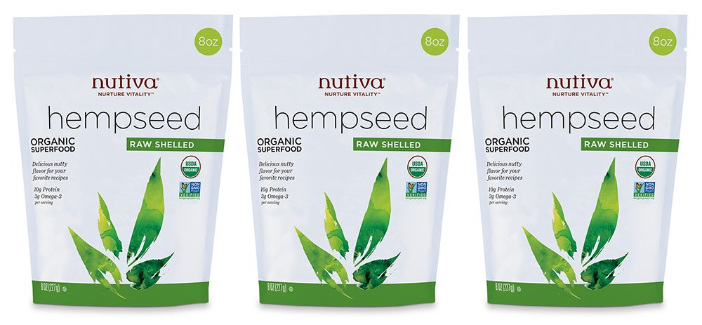 Nutiva Organic, Raw, Shelled Hempseed from non-GMO, Sustainably Farmed Canadian Hemp, 8-ounce (Pack of 3)