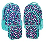 Reinforced Water Resistant School Backpack and Insulated Lunch Bag 2 Pack- Teal Navy Party Polka Dot