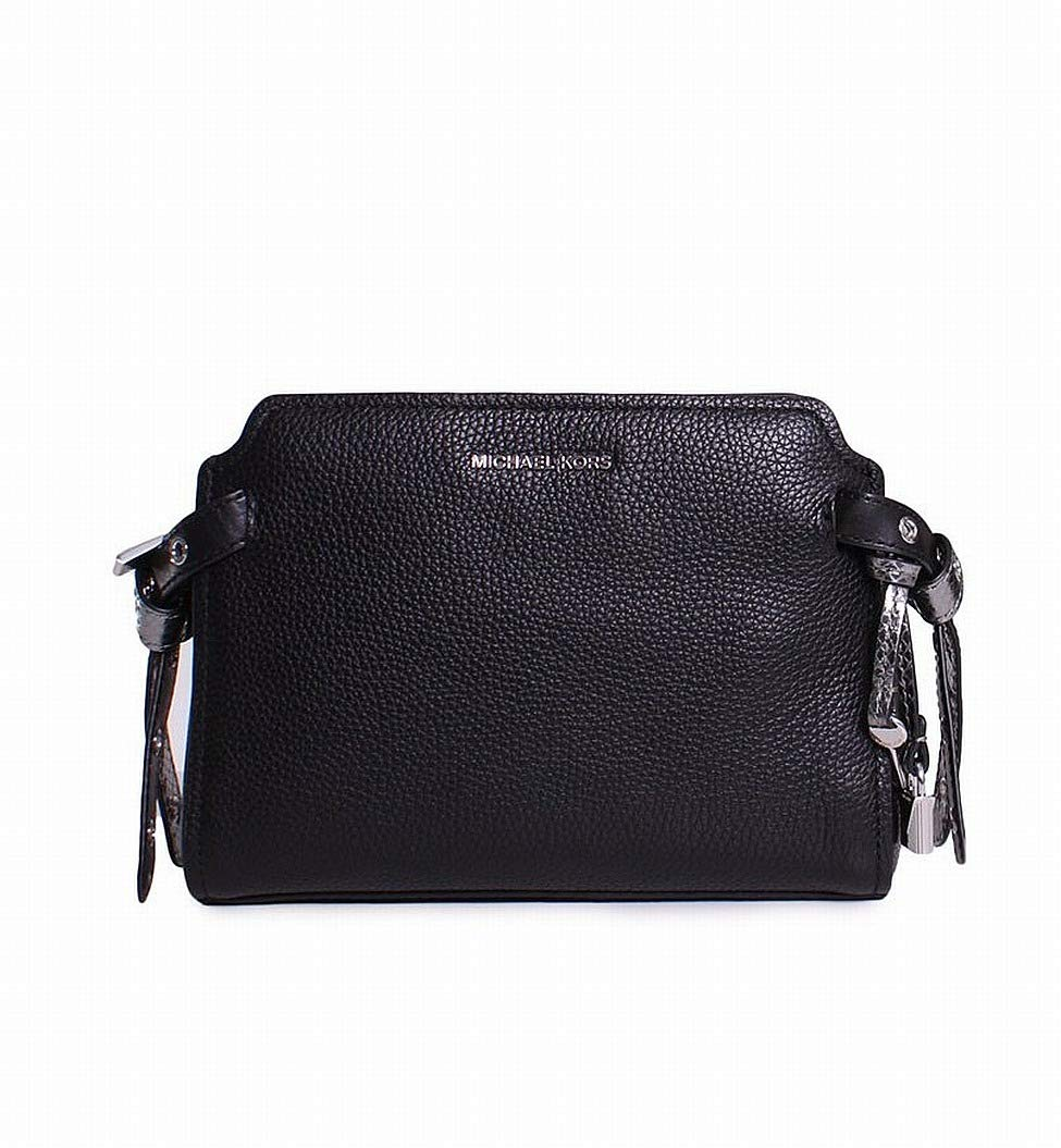 Michael Kors Bristol Pebbled Leather Medium Messenger Handbag in Black
