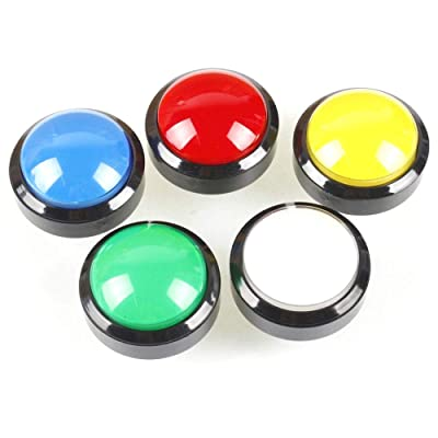 Tongmisi 60mm Dome Shaped LED Illuminated Arcade Button with 3Pin Microswitch for Arcade Video Game Machine Part (5 Colors): Toys & Games