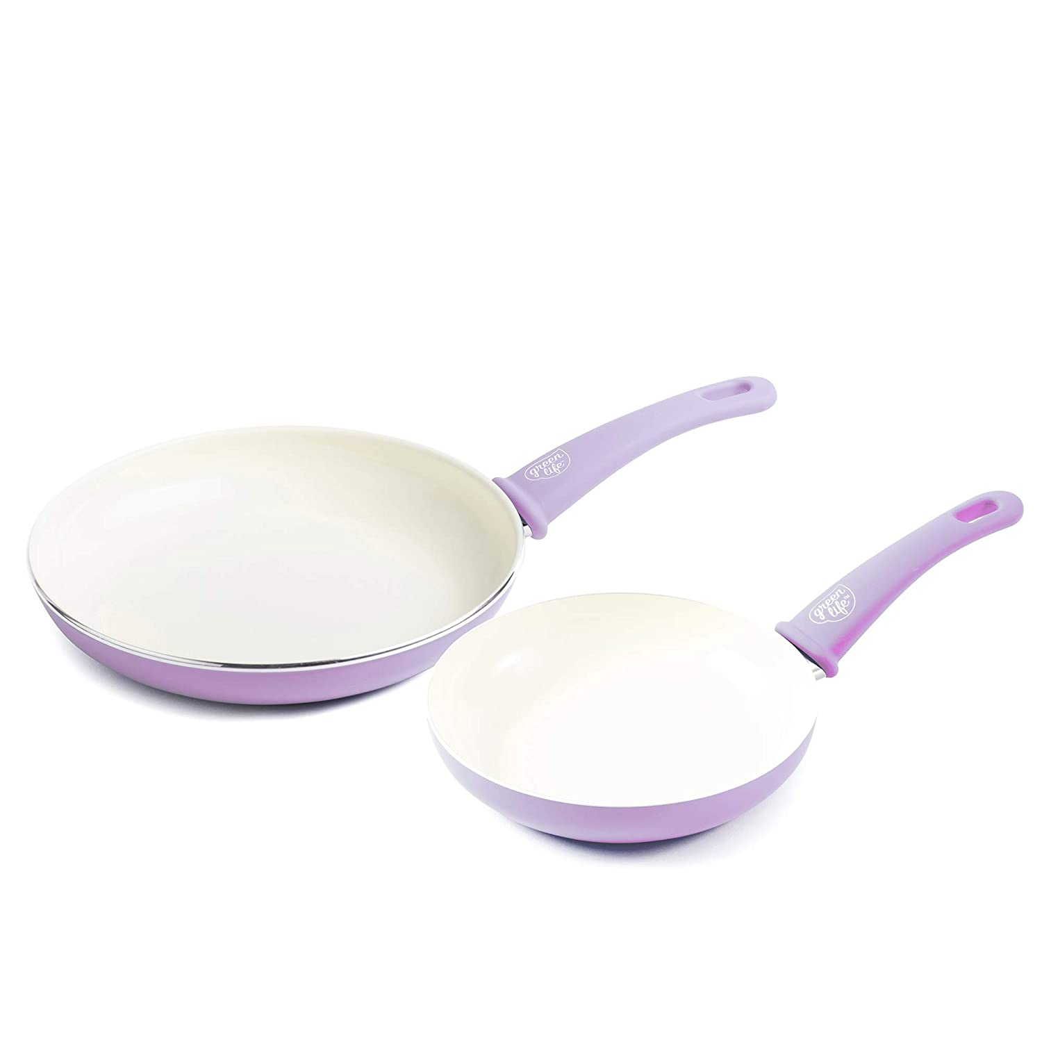 """GreenLife CC001910-001 Soft Grip Ceramic Non-Stick 7"""" and 10"""" Open Frypan Set, Lavender"""