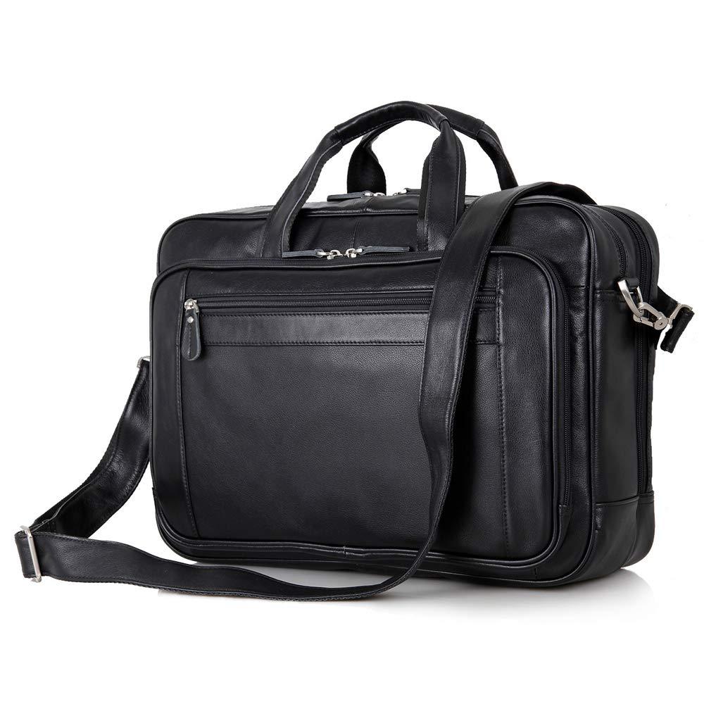 Kucspp 17'' Mens Leather Messenger Bag Shoulder Satchel for Laptop Briefcase Business Tote