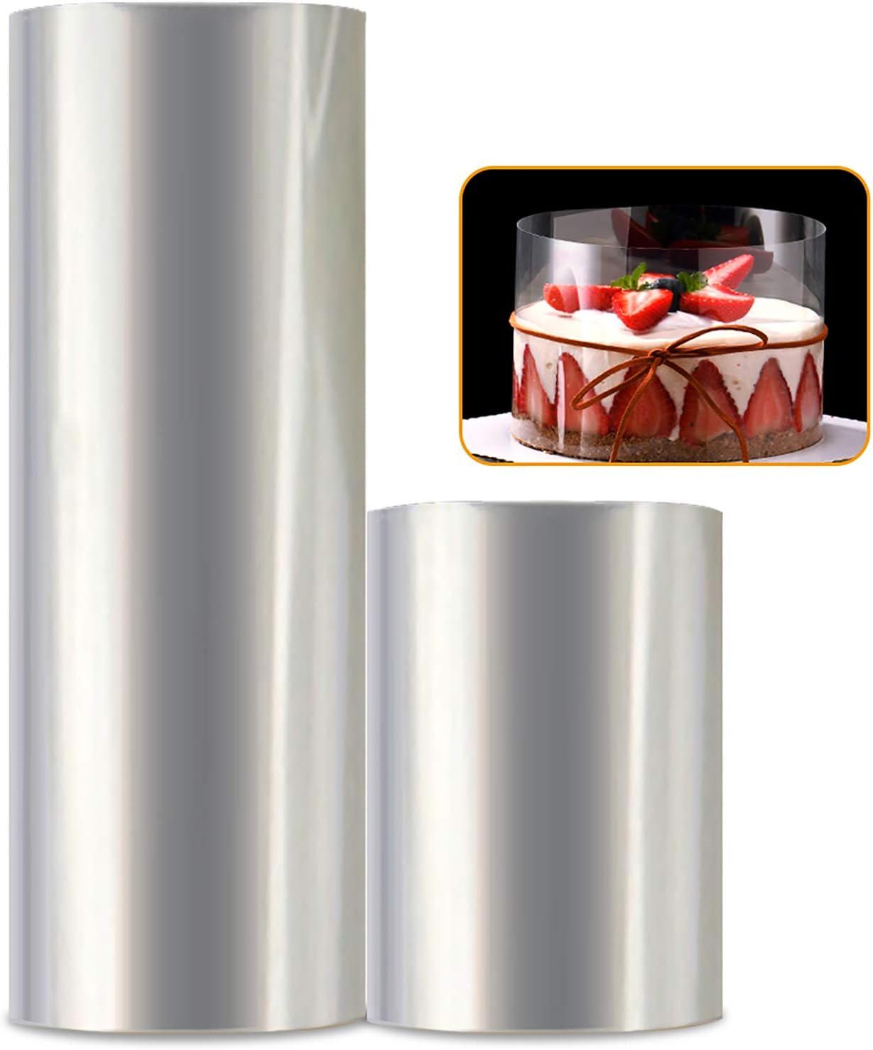 Cake Collar, 2Pack Transparent Mousse Cake Rolls, Cake Collar Baking Surrounding Edge Decorating,Transparent Mousse Cake Acetate Sheets for Chocolate Mousse Baking,Cake Decorating