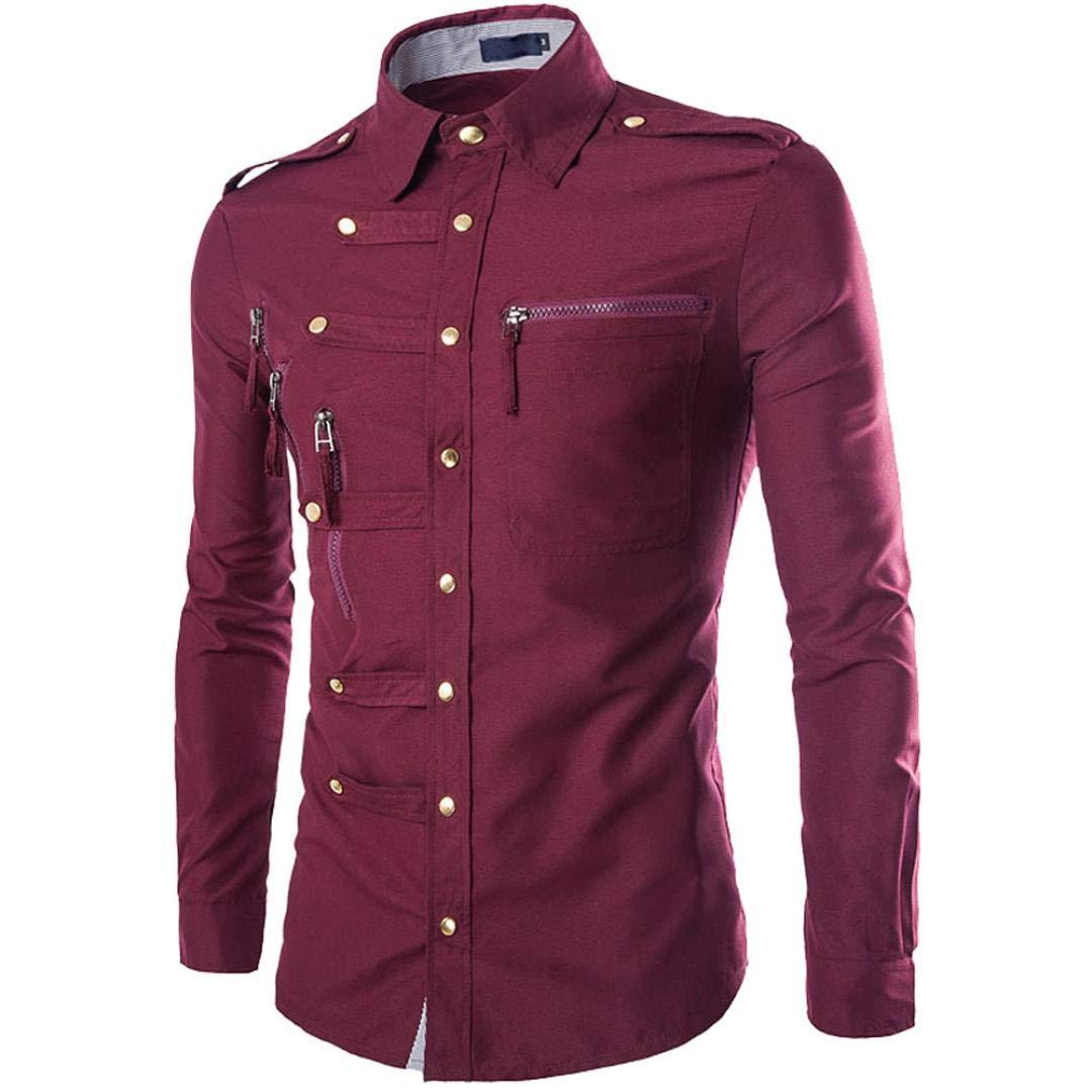 kaifongfu Shirt,Men Solid Color Zipper Buttom Tops Slim Fit Shirt Blouse(Wine,XL)