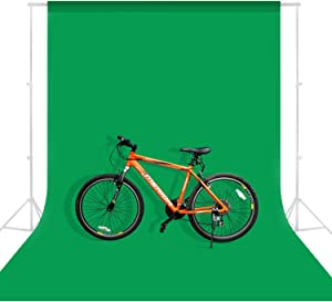 MOUNTDOG 6.5 x 10ft Photography Backdrop Background, Polyester Chromakey Green Screen Backdrop Background Cloth Sheet Collapsible Wrinkle Free for Photography Video Studio (Stand NOT Included)