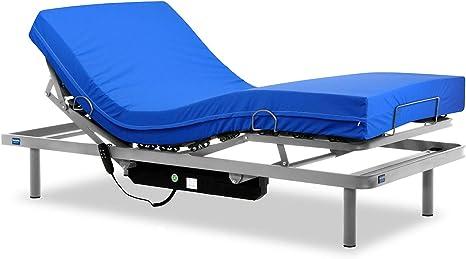 Gerialife® Cama articulada con colchón Sanitario viscoelástico Impermeable (105x200)
