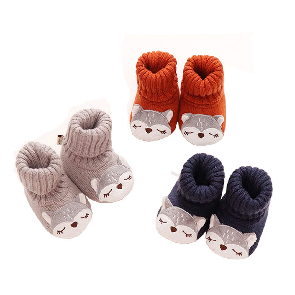 Xinqiao Socks Newborn Infant Unisex-Baby Non-Slip Bootie 3 Pack For 6-18 Months
