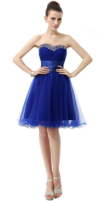 Lava-ring Women's Sweetheart Lace-up Rhinestones Ruffle Short Tulle Prom Dress