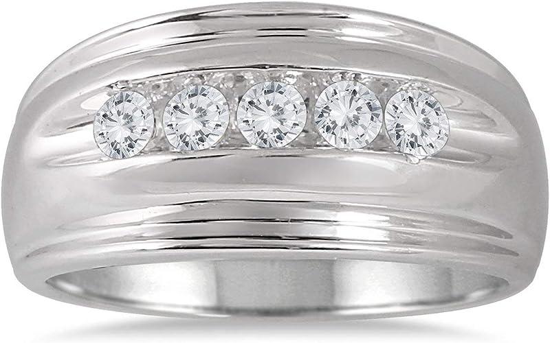 Size-13 G-H,I2-I3 1//10 cttw, Diamond Wedding Band in 14K White Gold