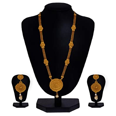 d948c4ba3e3 Image Unavailable. Image not available for. Colour: Lookethnic Gold Plated  Long Necklace Set ...