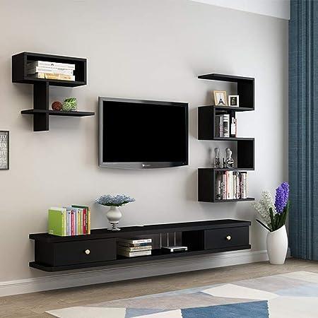 Mueble TV de Pared Estante de la Pared Estante Flotante Set Top Box Router de WiFi estantes de Almacenamiento Consola de TV Soporte TV Estante para Libros Estante de exhibición Decoraciones 1,4