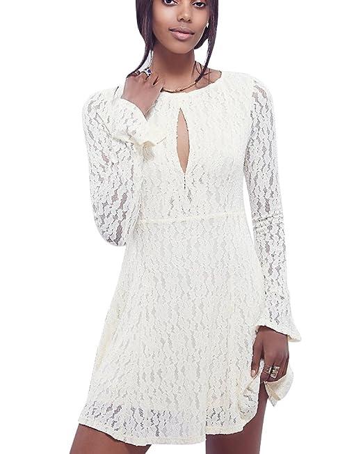 DianShao Mujeres Elegante Cuello Redondo Manga Larga Encaje Mini Vestido De Fiesta Blanco L