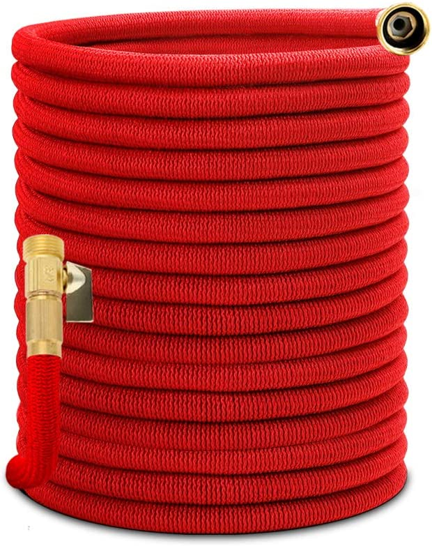 "Homes Garden Expandable Garden Hose100 Feet Leakproof, Flexible & Durable, Lightweight, No Kink, 3/4"" Solid Brass Fittings, ON/OFF Valve (Spray Nozzle Not Included) #G-W024A02-US"