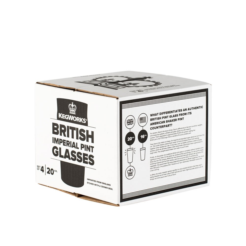 British Style Imperial Pint Glass with Etched Seal - Set of 4 - Gift Boxed by KegWorks (Image #3)