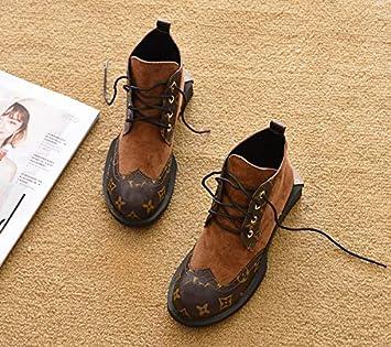 Shukun Botines Primavera y otoño Planas con Botas Martin Botas Individuales Botas Planas de Tubo Corto Zapatos de Plataforma Botas de Nieve Botines Botas de ...
