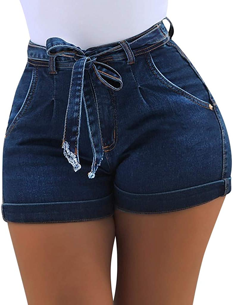 JOFOW Shorts Womens Denim Solid Tie Strappy High Waist Mini Pants