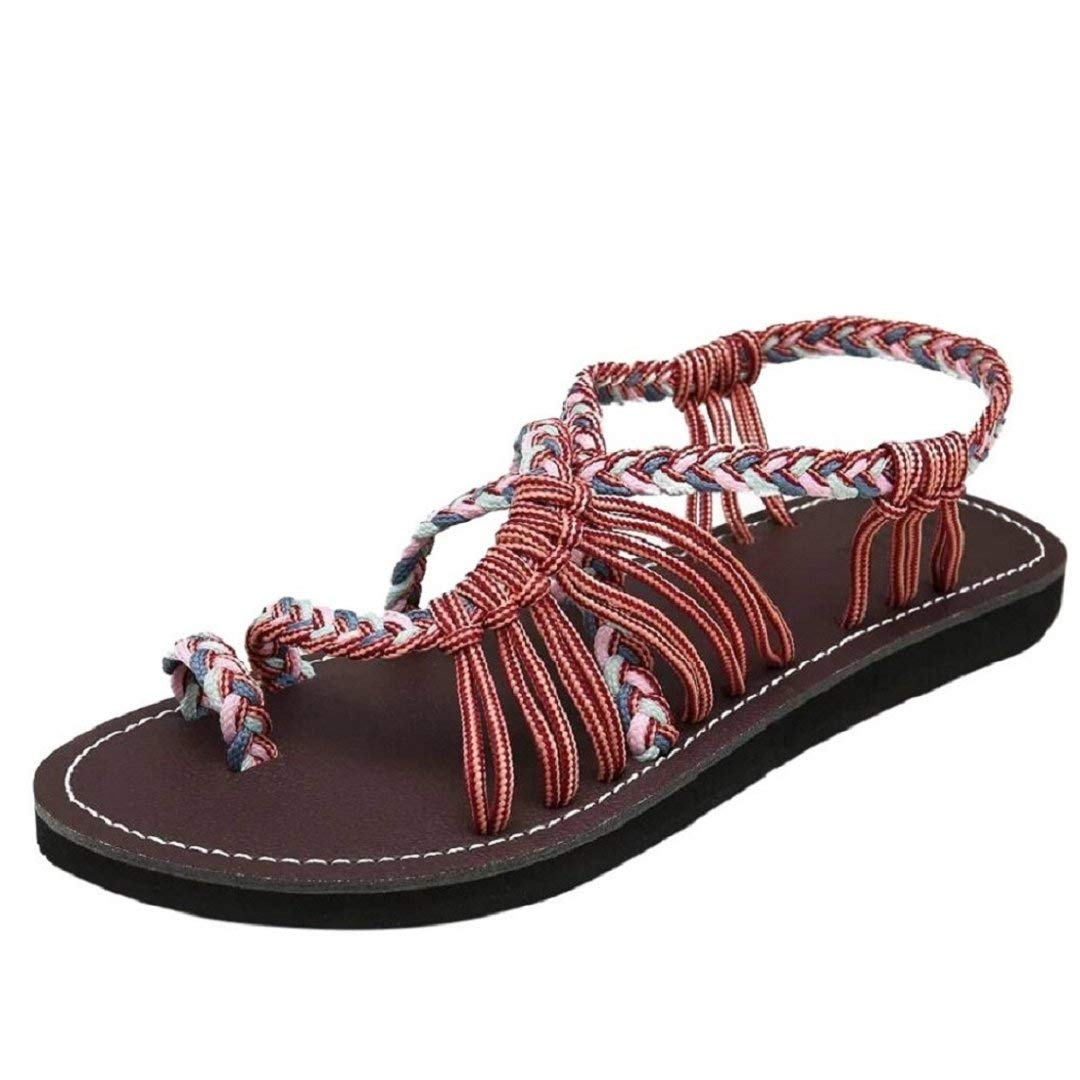 a57a3bcac53743 Women summer rope sandals rope sandals flat sandals seashell braided strap  beach shoes lowprofile black clothing