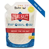 Redmond Real Salt, Ancient Fine Sea Salt, Unrefined Mineral Salt, 16 Ounce Pouch (2 Pack)