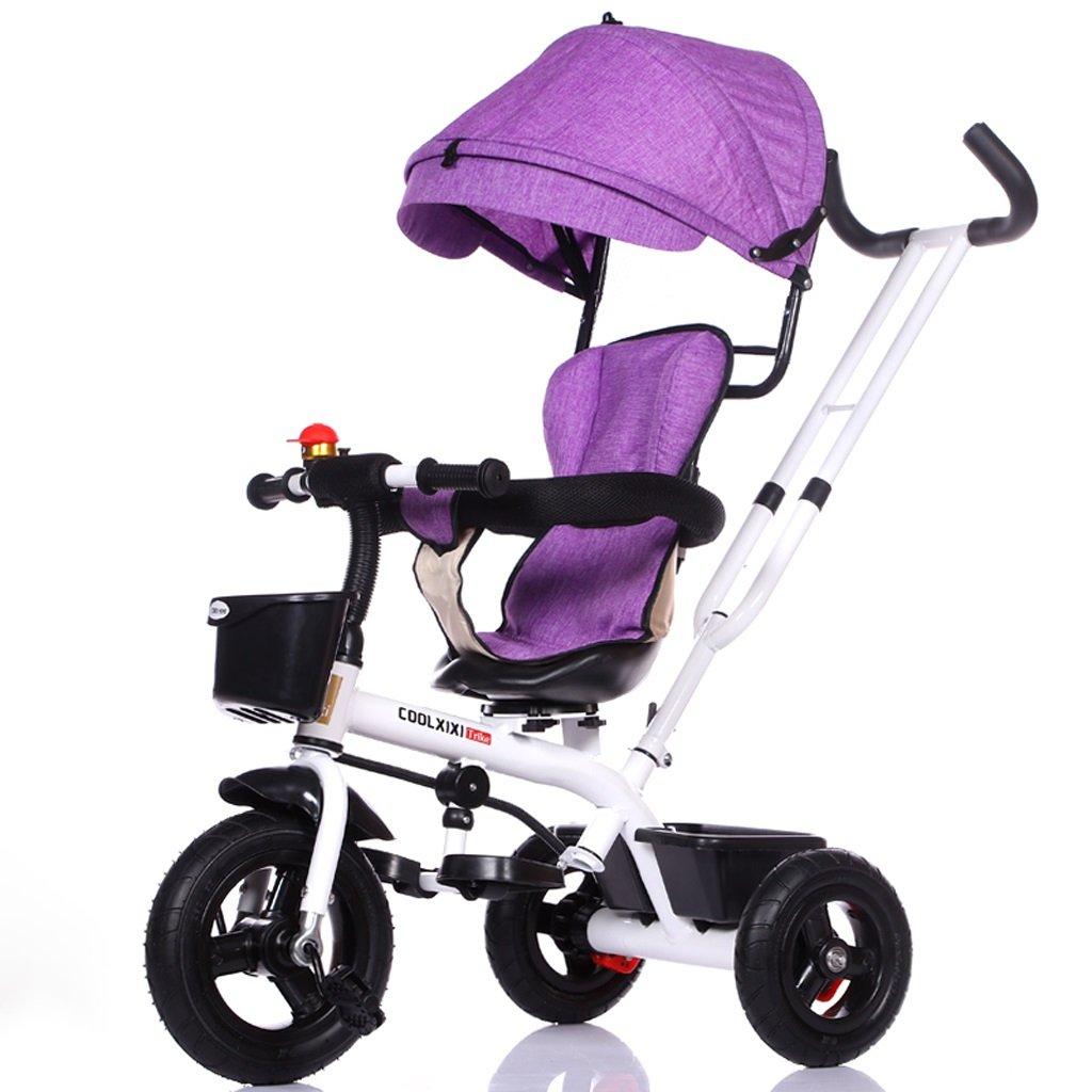 子供の三輪車の自転車1-5歳のベビーカーのベビーカーの子供の自転車キッズバイク、青、灰色、紫、灰色/黒のフレーム ( Color : Purple ) B07C88WHZG