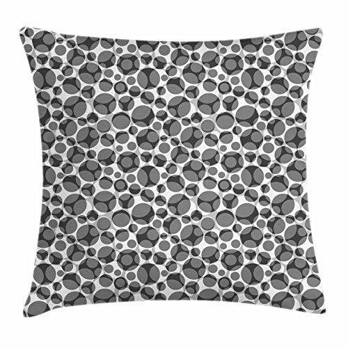 Chair Club Bubble (Lunarable Grey and White Throw Pillow Cushion Cover, Greyscale Pattern Big Small Spots Overlapping Bubble Shapes, Decorative Square Accent Pillow Case, 24 X 24 Inches, Grey Charcoal Grey White)
