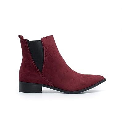 1de4d07a0 Zapshop C8705Z Botin Plano Ante de Color Burdeos para Mujer Talla  39   Amazon.es  Zapatos y complementos