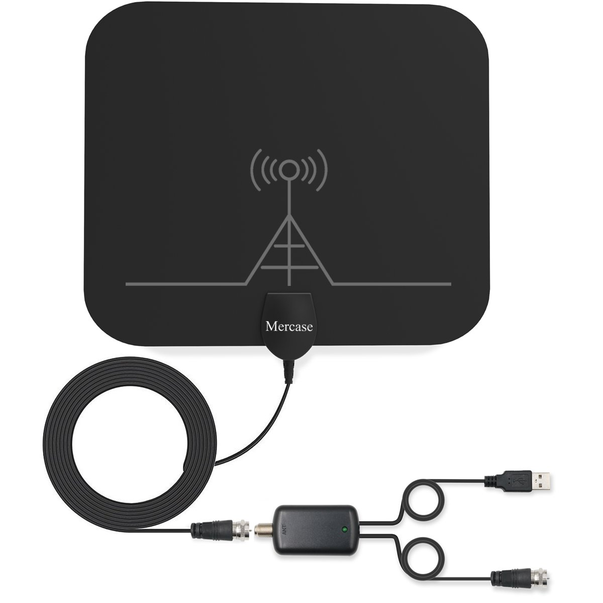 TV Antenna, Mercase 60 Miles Range Indoor High Reception Channels Smart TV Antenna for Digital Television with Detachable Amplifier Signal Booster,13.2ft Coaxial Cable[4K 1080P Digital HDTV Freeview]