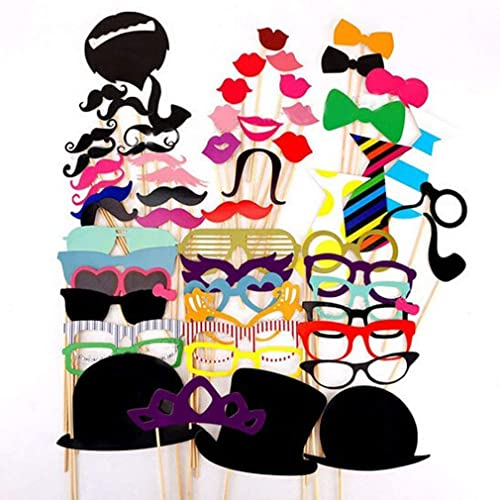 Ciaoed 58 Pcs Photo Booth Props for Wedding Party and birthday, Photobooth Props Kids and adult on Sticks Include Funny faces &Colorful Mustache&Glasses&Hat Etc For Wedding games Night Do Party Game Accessories Paper Photo Props Hippy.