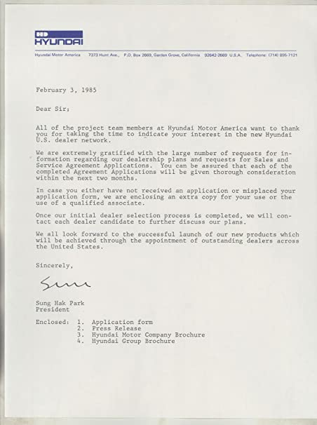 Amazon Com 1985 Hyundai Press Release Factory Letter Dealer
