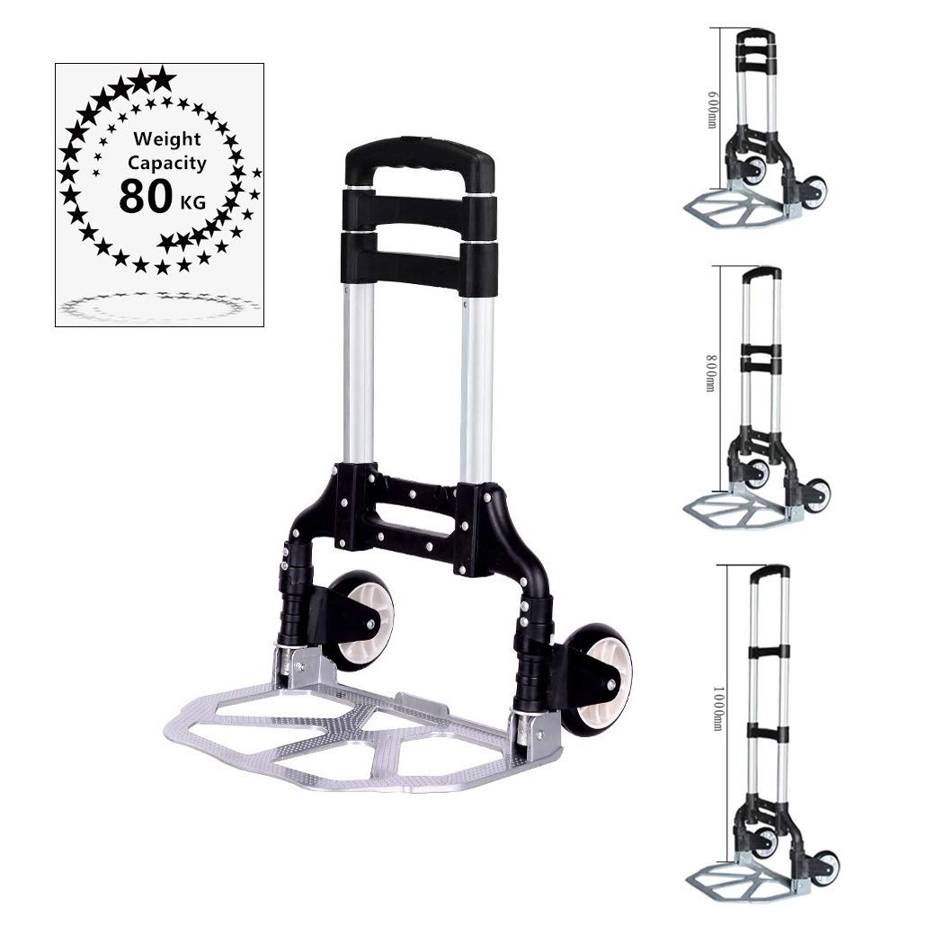 FLM Aluminium Folding Trolley - Heavy Duty Luggage Hand Trolley Cart with PU Wheels 80kg Load Capacity fuluomei