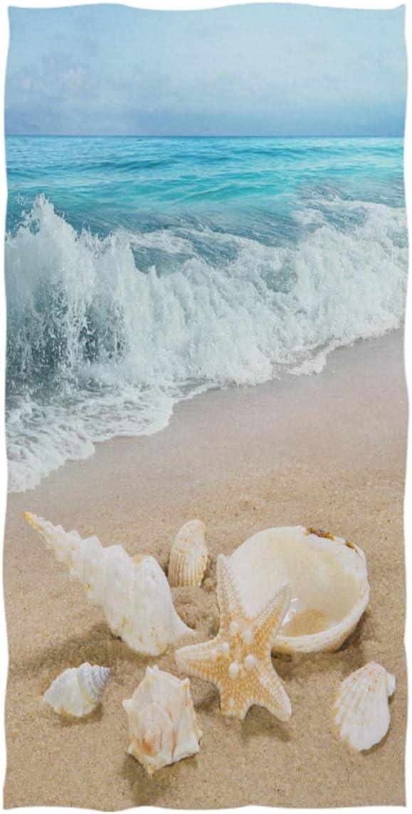 SEA SHELLS BEACH SHELL STAR FISH COTTON FABRIC BTHY